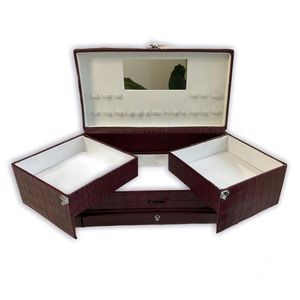 Makeup/Jewelry Case, Faux Burgundy Leather, Handle